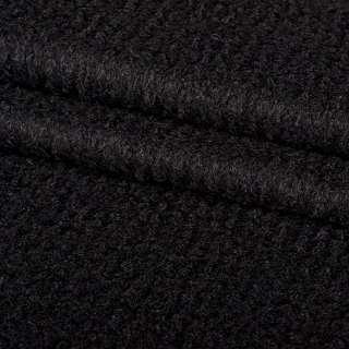 Лоден букле крупное диагональ пальтовый черный, ш.150