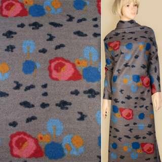 Лоден пальтовый цветы красно-сине-желтые на сером фоне, ш.155