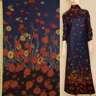 Лоден пальтовый купон 2-х-стор. цветы красно-желтые на синем темном фоне, ш.157