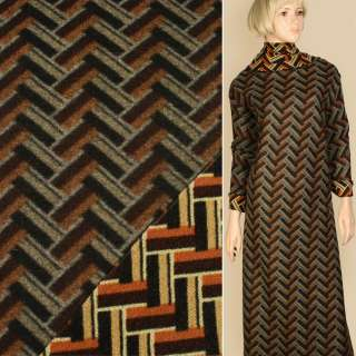 Лоден пальтовый геометрический узор черный, бежевый, оранжевый, ш.150