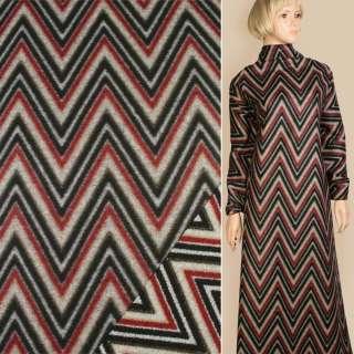Лоден пальтовый зигзаги красно-серые с черным, ш.150