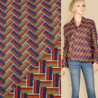 Лоден пальтовый геометрический узор красный, синий, оливковый, ш.155