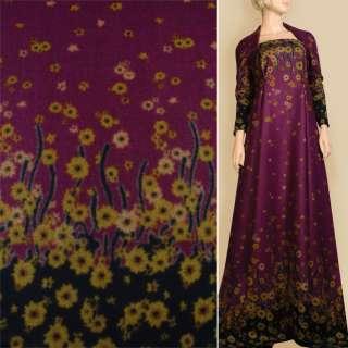 Лоден пальтовый купон 2-х-стор. цветы горчично-коричневые фиолетовый, ш.155