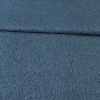 Лоден мохеровый пальтовый сине-серый, ш.155