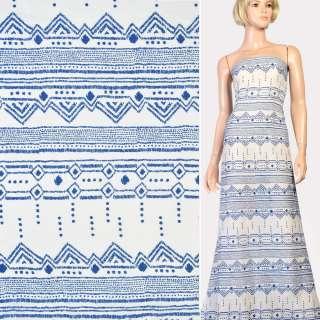 Марлевка белая в синий орнамент, ш.142