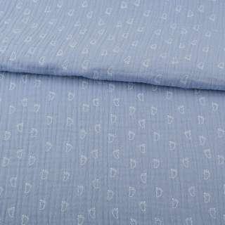 Марлевка жатая двойная серо-голубая, белые лапки, ш.138