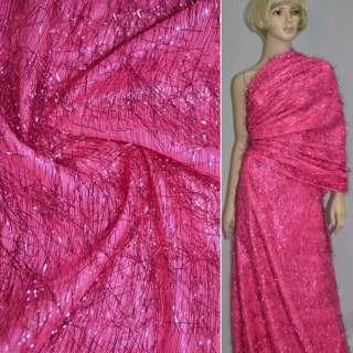 Травка ярко-розовая с люрексовыми нитями, ш.140