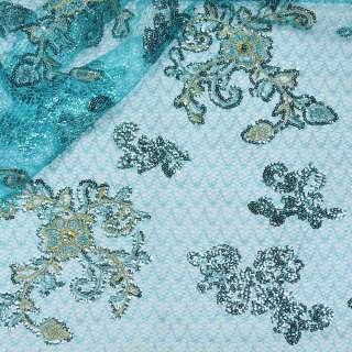 Паутинка голубая с бежево-голубыми цветами из пайеток ш.130