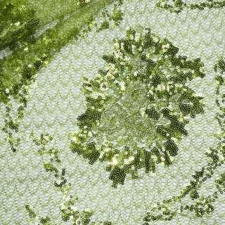 Паутинка зеленая с пайетками и букетом бежевых цветов ш.130