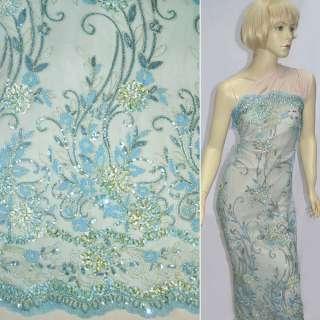 Сетка голубая с молочными цветами из тесьмы, золотых ниток, пайеток ш.120