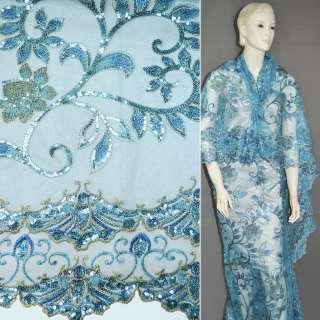 Сетка голубая с вышитыми бежевыми цветами и листьями из пайеток, 2-ст. купон ш.120