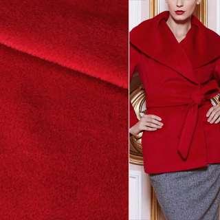Пальтовая ткань с ворсом красная яркая, ш.153