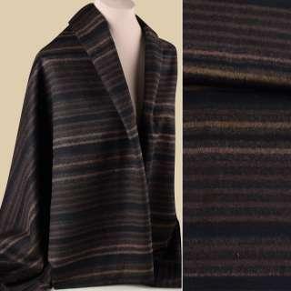 Полушерсть пальтовая с ворсом полосы бежевые, коричневые на черном фоне, ш.150