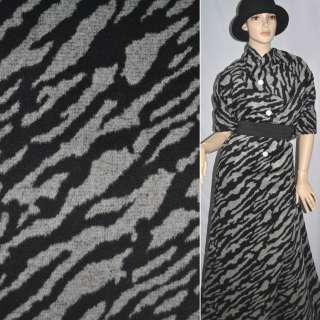 Ткань пальтовая серая с черными разводами ш.150