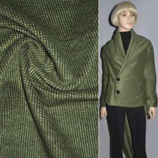 Ткань пальтовая темно-зеленая в крапинки