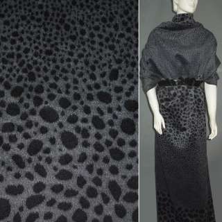 Ткань пальтовая серая в черные овалы (рапорт) ш.150