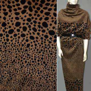 Ткань пальтовая коричневая светлая в черные овалы (рапорт)