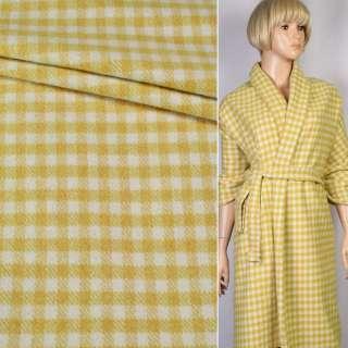Кашемир пальтовый с шерстью в клетку (10мм) желто-белый, ш.150