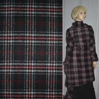 Ткань пальтовая черная в красно-белую клетку ш.150