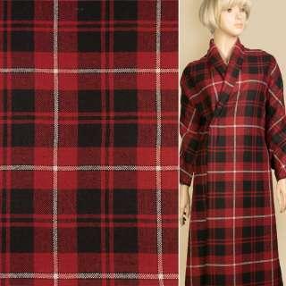 Шотландка красная в черно-белую клетку, ш.150