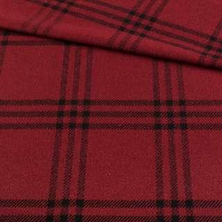 Шотландка красная темная в черную клетку, ш.145