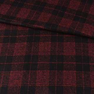 Полушерсть пальтовая в клетку красную черная, ш.150