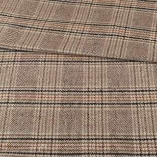 Пальтовая ткань в клетку коричневую, бежевая, ш.155