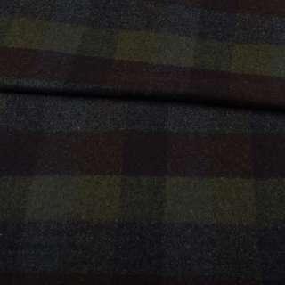 Шотландка пальтовая оливковая в коричнево-синюю клетку ш.150