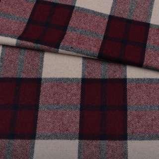 Шотландка пальтовая бежевая в крупную бордово-серую клетку ш.150