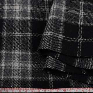 Шотландка пальтовая черная в серую клетку ш.150