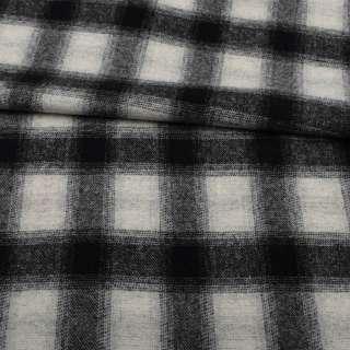 Шотландка пальтовая серая светлая в черную клетку ш.155