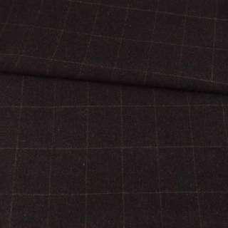 Полушерсть пальтовая в клетку бежево-бордовую тонкую на коричневом темном фоне, ш.145
