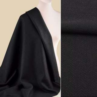 Букле пальтовое елочка черное, ш.153