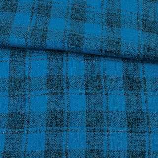 Букле пальтовое с шерстью двухслойное в клетку черную, метанить серебристая, голубое, ш.155