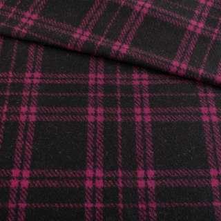 Кашемир пальтовый черный в фиолетовую клетку, ш.150