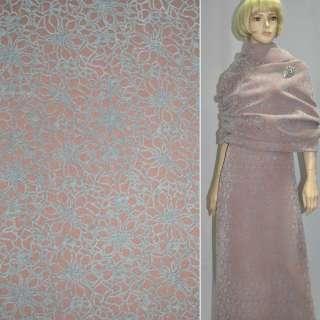 Пальтовая ткань на трикотажной основе ромашки флок серые на терракотовом светлом фоне, ш.150