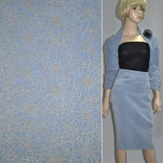 Пальтовая ткань на трикотажной основе  ромашки флок серые на голубом фоне, ш.150