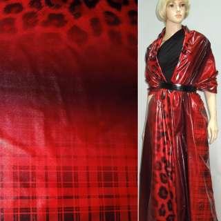 """Ткань плащевая красная в черную клетку +""""леопард"""" ш.15"""