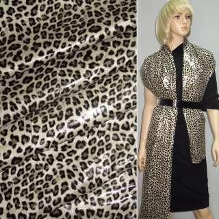 "Ткань плащевая бежевая светлая с черным ""леопард"" ш.150"