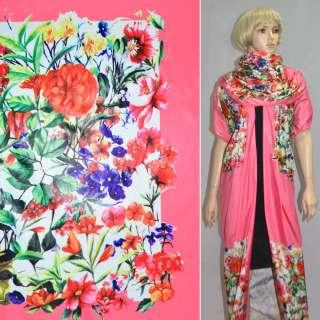 Ткань плащевая розовая с разноцветными цветами (рапорт) ш.150