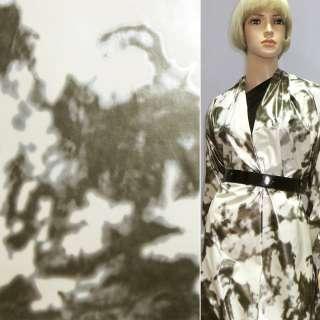 Ткань плащевая белая в серый абстрактный рисунок ш.140