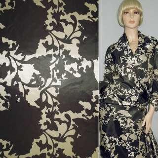Ткань плащевая камуфляж в коричневые цветы, ш.150