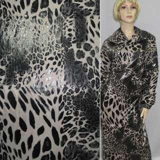 """Ткань плащевая песочная и черный """"леопард"""" ш.145"""