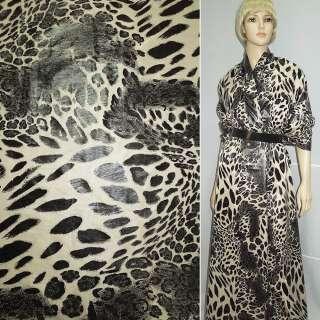 """Ткань плащевая бежевая светлая и черный """"леопард"""" ш.145"""