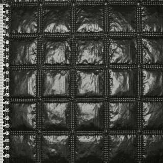 Ткань плащевая стеганая блестящая квадраты 4,5 см черная, ш.143