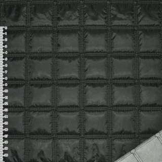 """Ткань плащевая стеганая черная матовая """"квадраты"""" ш.143"""