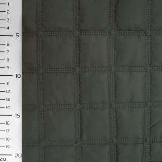 Ткань плащевая стеганая матовая квадраты 4,5 см зеленая темная, ш.145