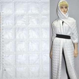 """Ткань плащевая стеганая белая матовая """"квадраты"""" ш.150"""