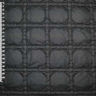 Ткань плащевая стеганая черная с вышитыми квадратами, ш.150