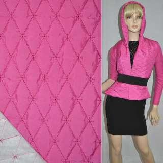 Ткань плащевая стеганая блестящая ромбы 6,5х3,5 см розово-малиновая, ш.150